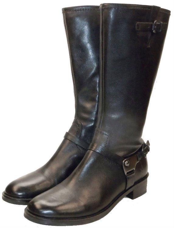 ecco hobart harness high cut buckle black leather boots sz